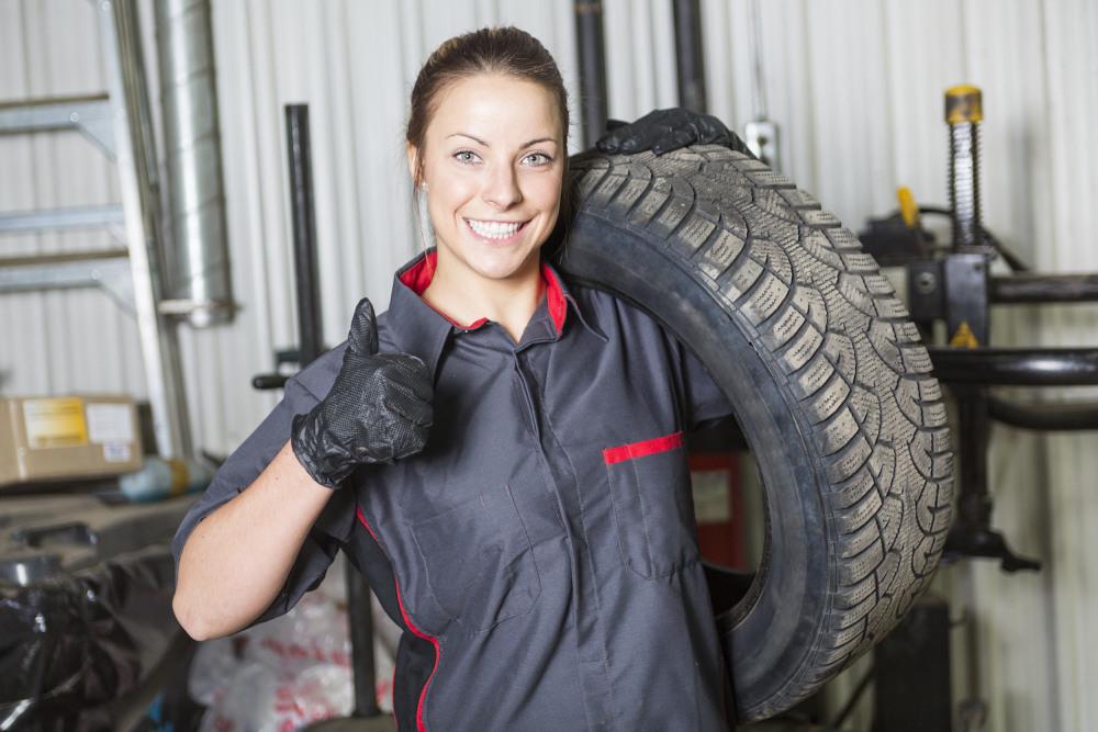 Woman in mechanics uniform